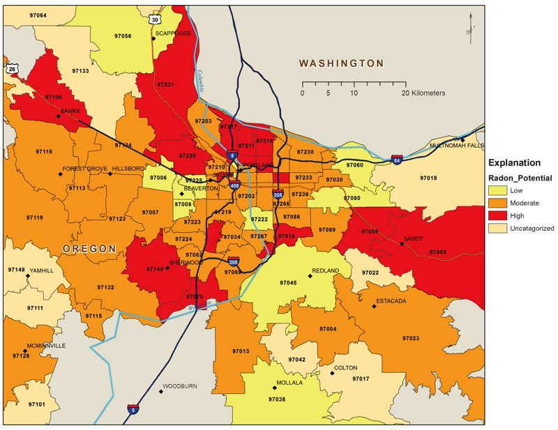 by: COURTESY OF PORTLAND STATE UNIVERSITY DEPARTMENT OF GEOLOGY  - Researchers can now map average radon contamination levels by ZIP code, based on data from thousands of home radon tests. Levels vary from from home to home, so some properties in low and moderate areas may be alarmingly high.