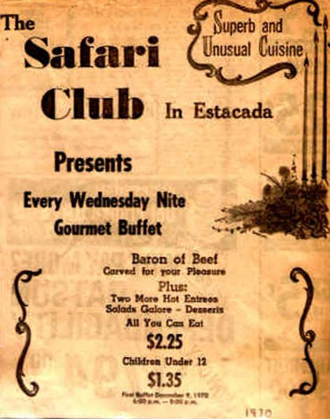 by: CONTRIBUTED BY JANE PARK. - A menu from the Safari Clubs early days.