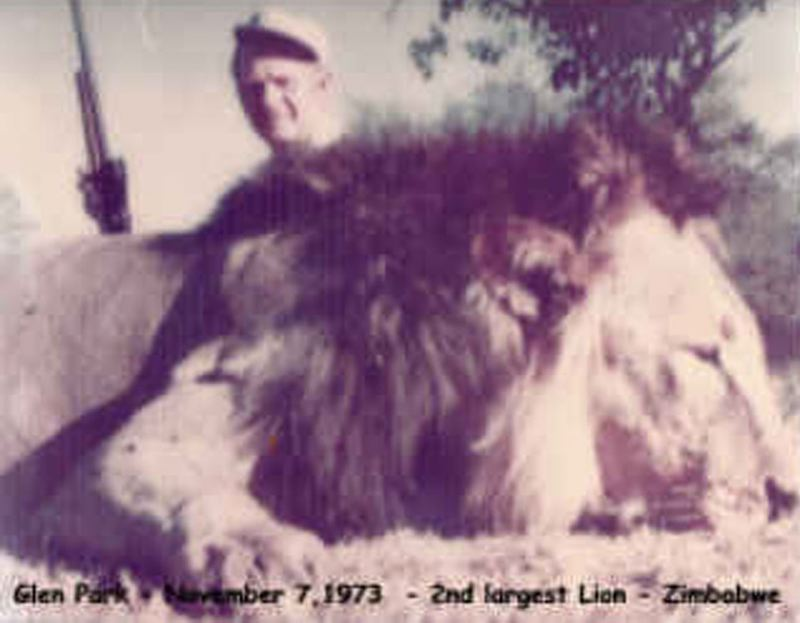 by: CONTRIBUTED BY JANE PARK. - Glen Park after shooting a lion in Zimbabwe in 1973.