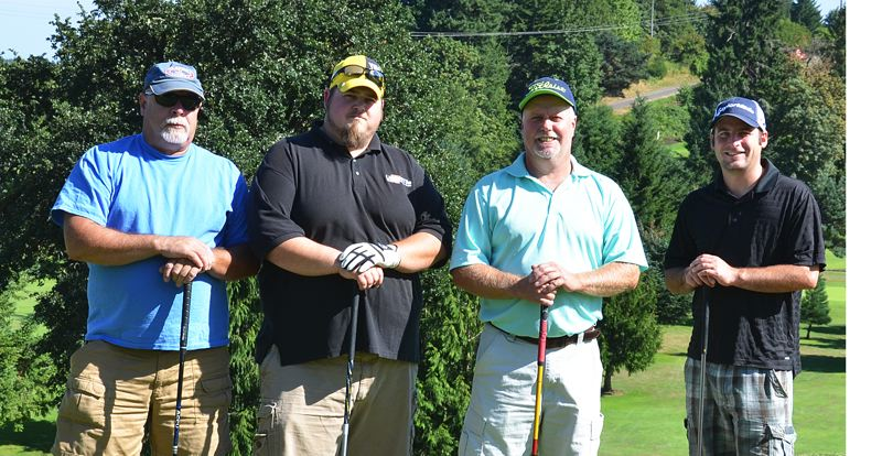 by: JOHN BREWINGTON - Members of the Capt. Morgan's on the Rocks golf team playing for third place Monday in the St. Helens Men's Club Summer League are: (from left) Al Adams, Marcus Gagnier, Tom Schwab, and Brandon Scheuermann.