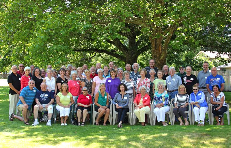 by: COURTESY PHOTO - More than 50 former Hillsboro High School staffers who worked at the school from 1964-1995 gathered recently at the Edwards Meadows Homeowners Association in Hillsboro.