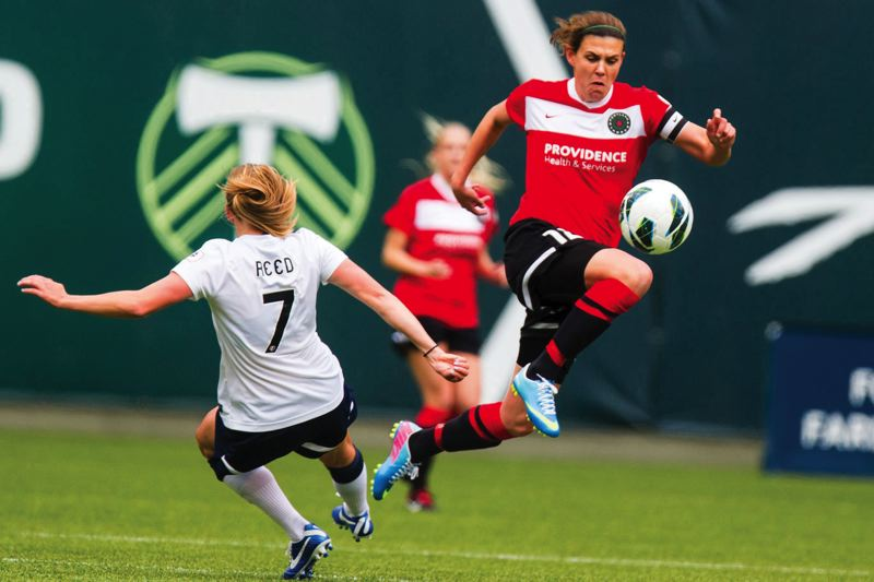 by: PAMPLIN MEDIA GROUP - Portland Thorns Christine Sinclair makes a run upfield. The team travels to Kansas City for a playoff match this weekend.