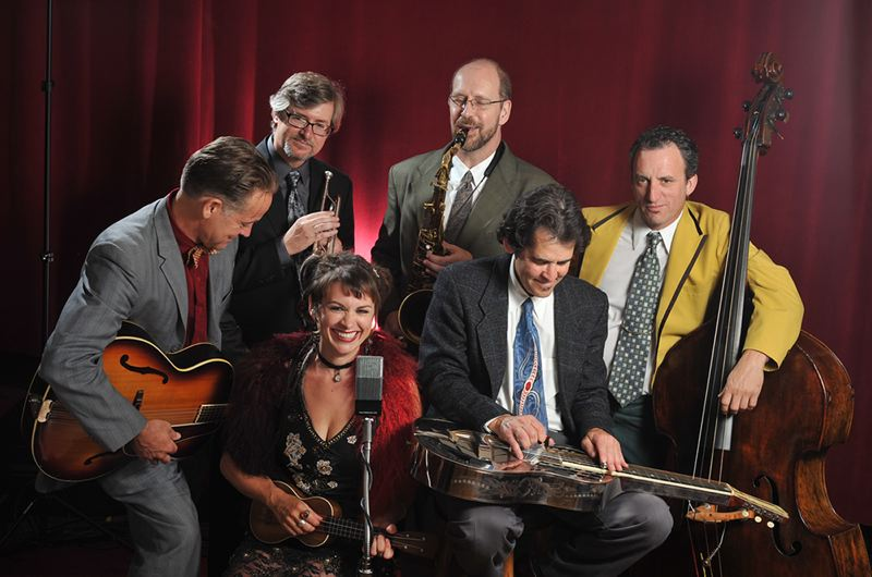 by: CONTRIBUTED PHOTO - These vintage jazz musicians provide much of the music for the two front-line crooners, singer Dee Settlemier and rhythm guitarist Doug Sammons. Together they comprise the Midnight Serenaders, a group that makes vintage jazz of the 20s and 30s relevant today.
