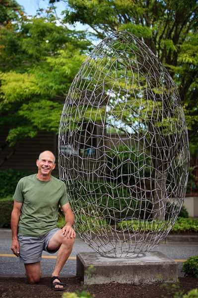 Egg by James Lapp is located on the northwest corner of Third Street and A Avenue.