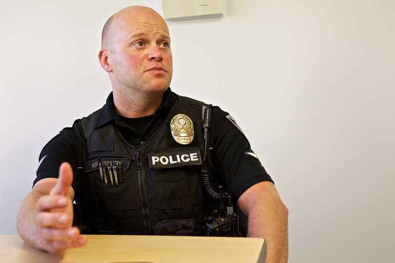 by: TIMES PHOTO: JAIME VALDEZ - Beaverton Police Officer Matt Kingsbury discusses the process when conducting a home visit with a participant in the B-SOBR DUII diversion court program.