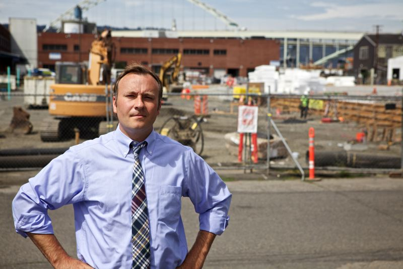 by: TRIBUNE PHOTO: JAIME VALDEZ - Spending critic Kent Craford stands outside the Water Bureau's maintenance facility project, which he thinks is too expensive.