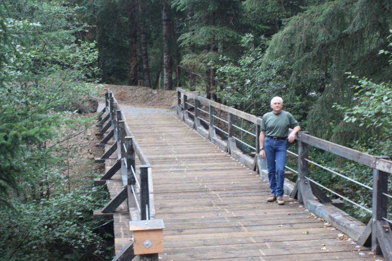 by: SPOTLIGHT PHOTO: ROBIN JOHNSON - Completed in July, the Crown Zellerbach Trail bridge near Scaponia Park on the Scappoose-Vernonia Highway is the last of the trails many bridges to be built.