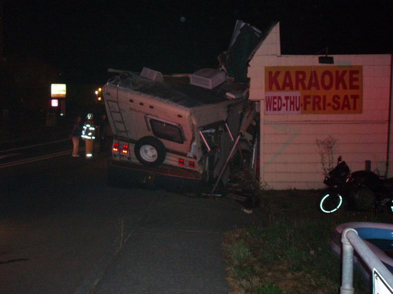 by: CONTRIBUTED PHOTO: CLACKAMAS COUNTY SHERIFF'S OFFICE - A motorhome crashed into a tavern about four miles east of Damascus early Saturday, Aug. 24. Nobody was injured in the incident, which police say they are unable to call a suicide attempt.