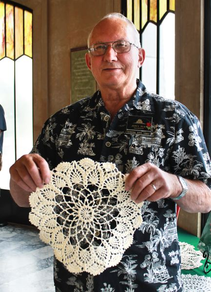 by: OUTLOOK PHOTO: CARI HACHMANN - Jim Dean and one of his crocheted doilies.