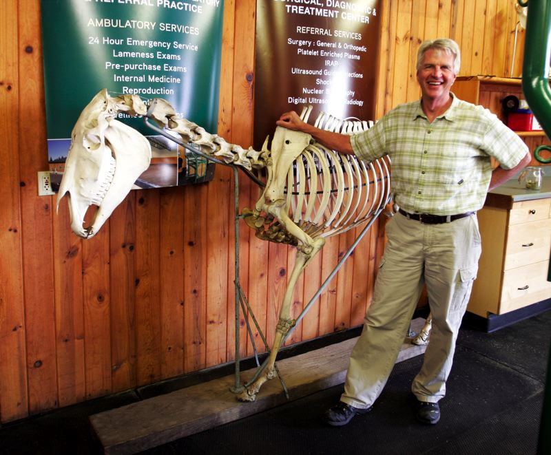 by: OUTLOOK PHOTO: JIM CLARK - Dr. Scott Hansen stands with Trigger, a horse skeleton he purchased from the vet school when he graduated.