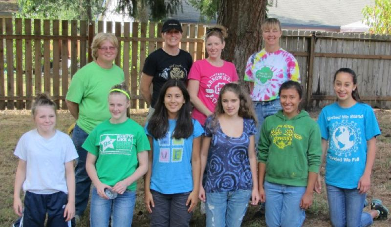 by: SUBMITTED PHOTO - Participants in the clean-up included (from left, front row) Ashlynn Lucas, Ciara Fritcher, Madisyn Montgomery, Amanda Lee, Kelsey Horn and Angelyca Strand; (back row) Beth Strand, Shawnda Horn, Pam Lee and Kristie Bacon.