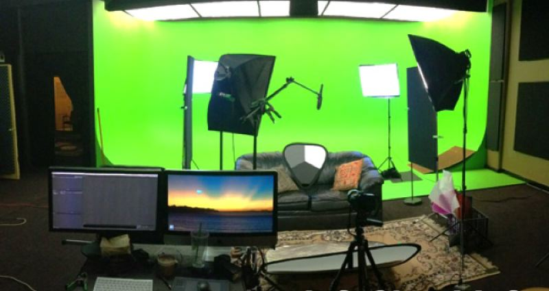 by: SUBMITTED PHOTO - A 24-by-16-foot cyclorama creates a green screen environment at the Island Station Media Lab in Milwaukie.