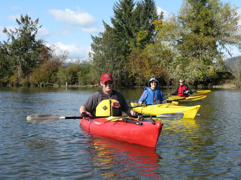 by: PHOTO COURTESY: SUZ MAUS - NW Discoveries President Ken Barker leads locals on a kayak tour as part of an introductory course available through Oregon City Community Education.