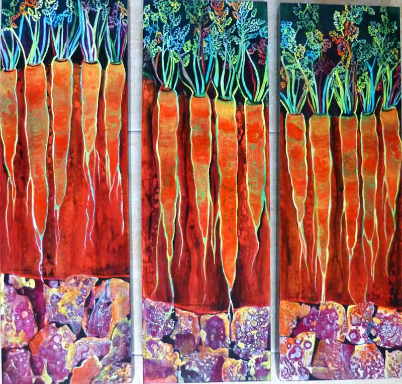 The triptych Carrot Roots I, II and III by Dyanne Locati will be on display through October in the Lakewood Center Gallery.