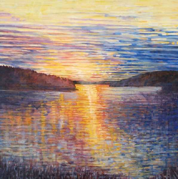 Theresa Andreas-OLeary is showing her art at the Lakewood Center Gallery, including this piece, Oswego Lake View.