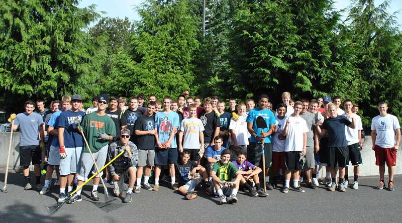 by: SUBMITTED PHOTO: CLAIRE MURPHY - Lake Oswego High School students gather for a school photo during a school cleanup day this month.