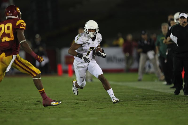 by: COURTESY PHOTO: ERIC EVANS UNIVERSITY OF OREGON ATHLETICS - University of Oregon wide receiver Keanon Lowe had one of his best games against USC, catching two passes for 40 yards.