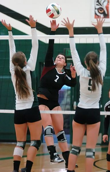 by: DAN BROOD - SUPER SOPHOMORE -- Haley Howarth (7), who earned honorable mention all-league accolades last year as a freshman, returns at an outside hitter spot for the Timberwolves this season.
