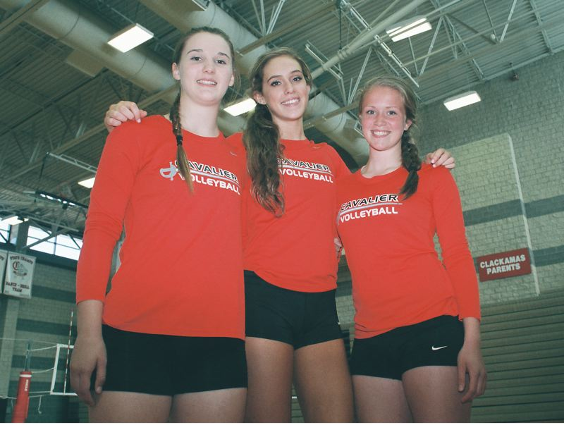 by: JOHN DENNY - Clackamas senior co-captains (from left) Shelby Torgerson, Taylor Agost and Bailey Bremer believe that Clackamas will be a power in the state, as well as in the Three Rivers League, again this fall. The Cavaliers have won at least a share of the TRL title and they have placed at state in each of the last three seasons.