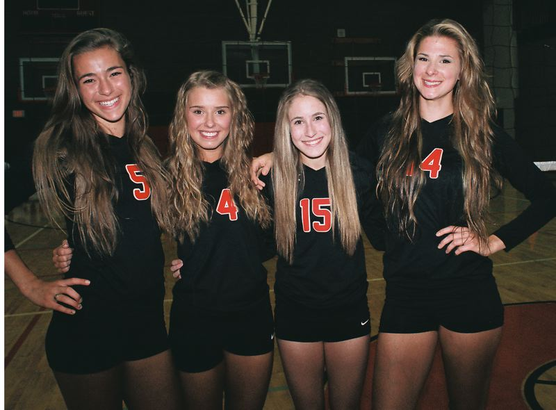 by: JOHN DENNY - With a more experienced lineup and higher skills, Oregon City players and coaches expect to be much improved in volleyball this fall. Pictured are the four seniors on this years team - (from left) Lindsey Keegan, Erin Morris, Dani Stevens and Elle Verschingel.