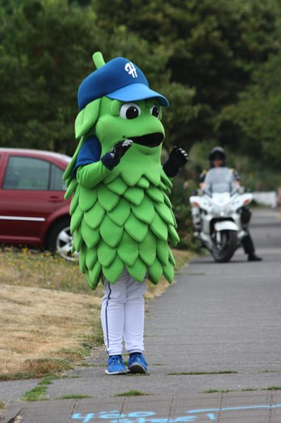 by: HILLSBORO TRIBUNE PHOTO: DOUG BURKHARDT - Barley, the mascot of the Hillsboro Hops minor league baseball team, prepares to go into a crosswalk as a decoy pedestrian during a crosswalk safety program sponsored by the Hillsboro Police Department last week. Behind Barley, Officer Scott Hanley watches from his motorcycle to make sure motorists stop.