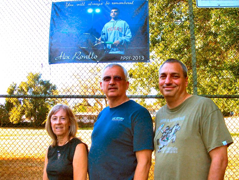 by: RITA A. LEONARD - Parents Geri and Jim Rovello - as well as Mike Rosen, at right - shown at Berkeley Park in Eastmoreland, organized the Portland City Tennis Championships to celebrate the life of athlete Alex Rovello.
