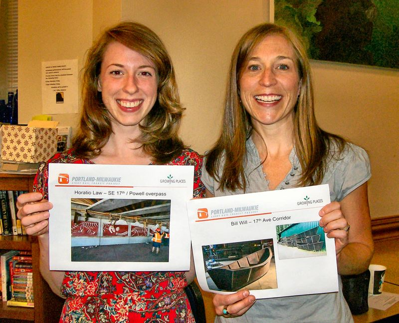 by: RITA A. LEONARD - Brooklyns new Southeast Uplift representative Ashe Urban, left, and TriMet MAX project spokesperson Jennifer Koozer show some of the artwork planned for the Light Rail corridor down S.E. 17th in Brooklyn. Dinosaur paintings by mural artist Horatio Law will ornament the walls of the pedestrian underpass at S.E. 17th Avenue and Powell - while artist Bill Wills weathered steel boat sculptures will line Brooklyns Light Rail corridor.