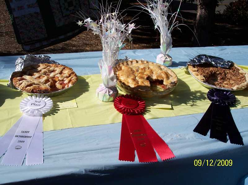 by: CONTRIBUTED PHOTO - These are the winning pie entries in last years Oktoberfest Fair. The Sandy Chapter of Future Farmers of America has held the fair for the past four years at the event at St. Michael Church on Langensand Road in Sandy.