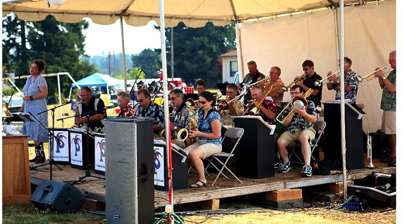 by: CONTRIBUTED PHOTO: BRIAN PASKO PHOTOGRAPHY - The Pranksters Big Band, with singer Claudia Knauer at the microphone, plays a popular jazz tune during last years Boring Celebration.