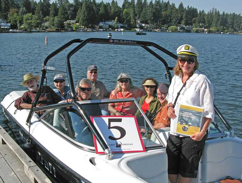 by: SUSANNA KUO - It was anchors away for the first Lake Oswego Historic Boat Tour held in 2012. This year more than twice as many water-going history lovers are set to make the trip. At the right is tour guide Pam Hayden.