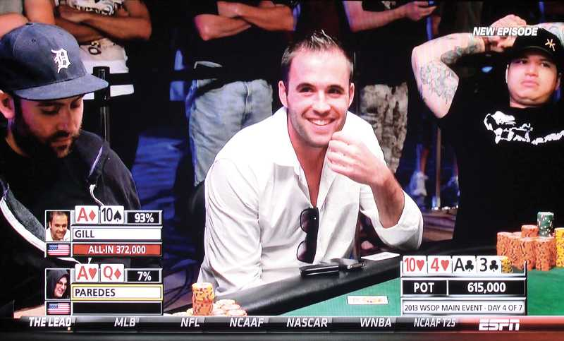 by: HOLLY M. GILL - Madras native Carter Gill, playing on the fourth day of the World Series of Poker Main Event on July 12, smiles when the flop gives him a pair of aces and 10s. Moments later, the 'river' gave his opponent the win - despite the odds in Gill's favor. The ESPN video of his reaction went viral last week.