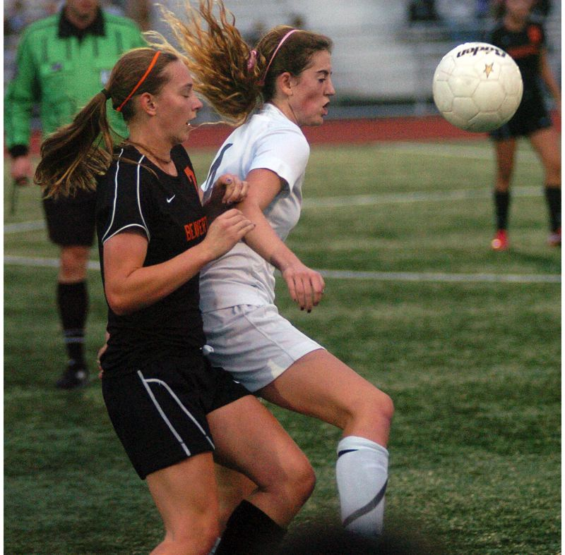 by: DAN BROOD - VETERAN TIGER -- Tigard High School senior Emilee Cincotta (right), shown here in a 2012 state playoff match with Beaverton, is beginning her fourth season on the Tiger varsity roster.