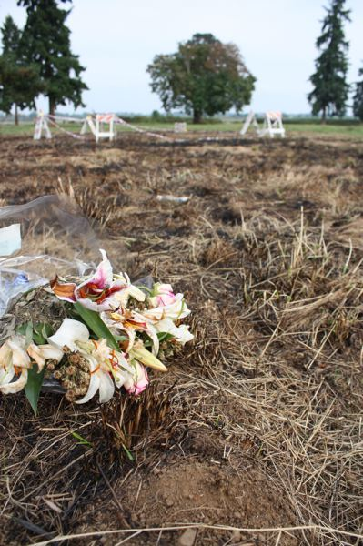 by: SPOTLIGHT PHOTO: ROBIN JOHNSON - Scorched ground at the site where LaFayettes craft crashed Saturday on N.E. Wagner Court off West Lane Road.