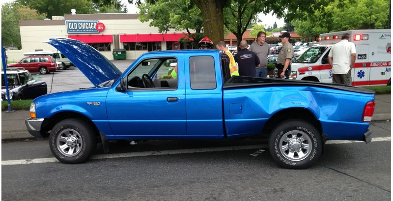 by: CCSO - Pictured is the Ford Ranger after a crash in Clackamas on Friday.