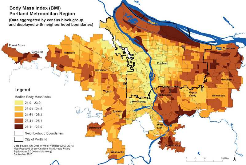 by: MAP COURTESY OF THE COALITION FOR LIVABLE FUTURE - A map tracking residents' average Body Mass Index shows that folks in close-in Portland, Lake Oswego, West Linn and areas north of Beaverton tend to have their weight more under control than those in other areas.