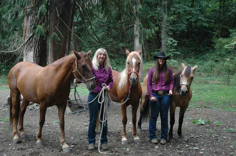 by: ISABEL GAUTSCHI - These five ladies (human and equine) are off to compete in the Mustang Million Challenge Sept. 16-22 in Fort Worth, Texas. Left to right: Tangled, Stacey Riggs, Journey, Jodi Waymire and Benelli.