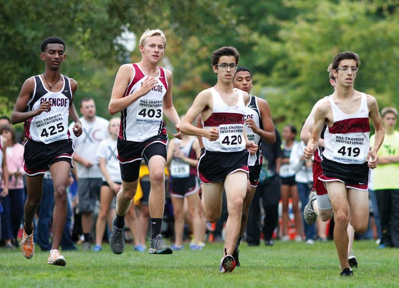 by: HILLSBORO TRIBUNE PHOTO: AMANDA MILES - Glencoe cross country runners Abe Teklu (425), Scott Ackerman (403), Miles Rouches (420) and Mason Rouches (419) get off to a fast start at last Friday's Bill Chapman Invitational.