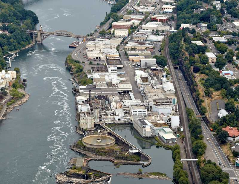 by: SUBMITTED FILE PHOTO - This overhead shot of the former Blue Heron Paper Co. property below Willamette Falls shows part of the area proposed for inclusion in a new national heritage area from Oregon City and West Linn to Lake Oswego.