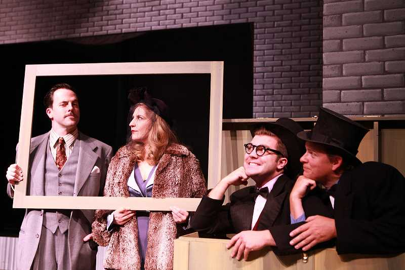 by: SUBMITTED PHOTO: TRAVIS NODURFT AND SAM LEVI - From left, Jayson Shanafelt, Jayne Stevens, James Sharinghousen and Travis Nodurft in Clackamas Repertory Theatres production of The 39 Steps.