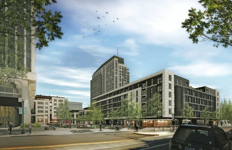 by: COURTESY OF GBD ARCHITECTS - Artists rendering shows Lloyd District superblock project along Eastside Portland Streetcar line.