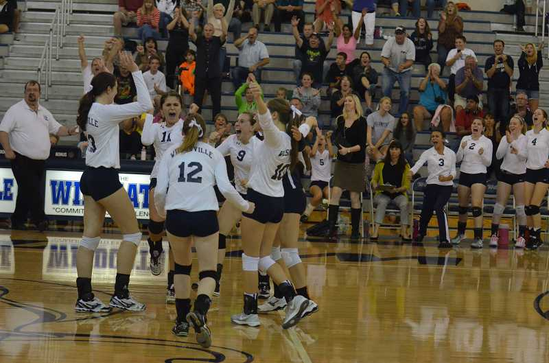 by: JEFF GOODMAN - The Wilsonville volleyball team celebrates its sweep of rival Sherwood at home Sept. 17. The Wildcats had not defeated the Bowmen since 2008.