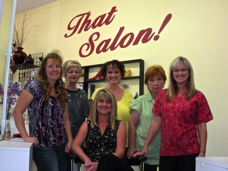 by: POST PHOTO: JIM HART - Stylists at That Salon in Sandy include, from left, Glenda Sandidge, Patti Davis, Shannon Copper, Linda Addington and Christina Reed. Seated in center is That Salons new business owner, Gretchen Benson.