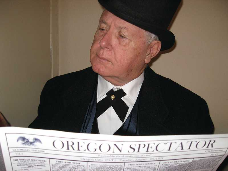 by: SUBMITTED PHOTO - Though there are no known existing photos of Robert Moore, West Linn resident Larry McIntyre potrays the  1843 Linn City founder in reenactments.