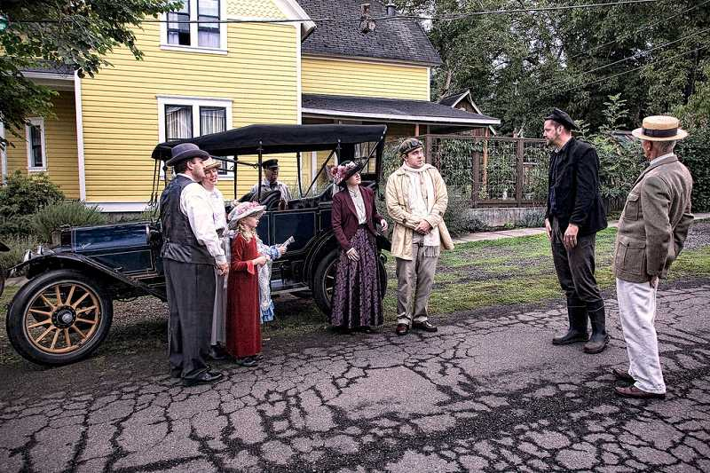 by: SUBMITTED PHOTO: GLEN BLEDSOE - A group of tour participants reenacted a 1913 scene featuring Portland aviator Silas Christofferson.