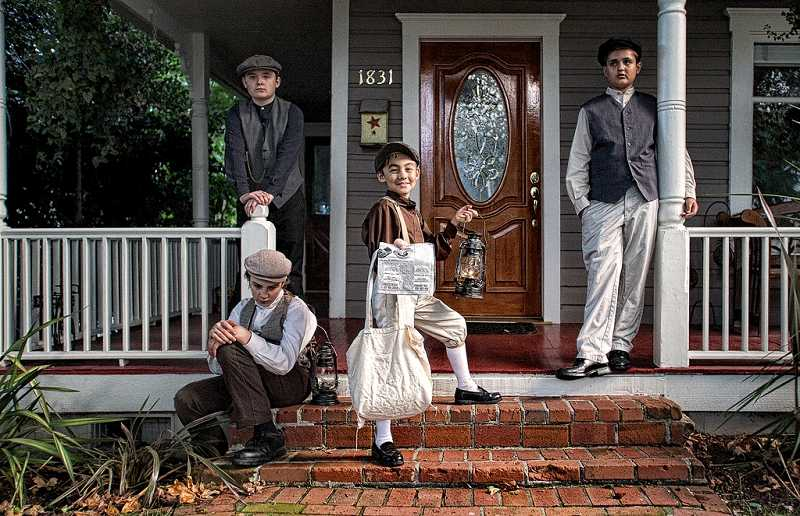 by: SUBMITTED PHOTO: GLEN BLEDSOE - From left, Gavin MacCartney, Gus Doggett, Ty Park and Joe McFadden dressed up in old-fashioned clothing for the Living History Tour.