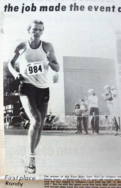by: ESTACADA NEWS ARCHIVES - The Best Dam Run winner of 1983 was Randy Husky of Estacada.