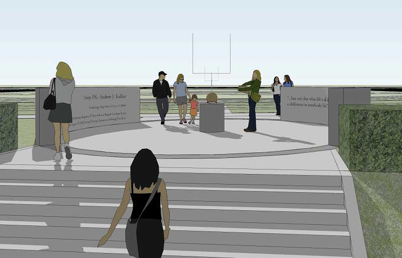 by: ARTISTIC RENDERING: WOOFTER ARCHITECTURE - The rendering shows an inspirational plaza honoring Pfc. Andrew Keller that is part of the proposed Southridge Community Plaza.