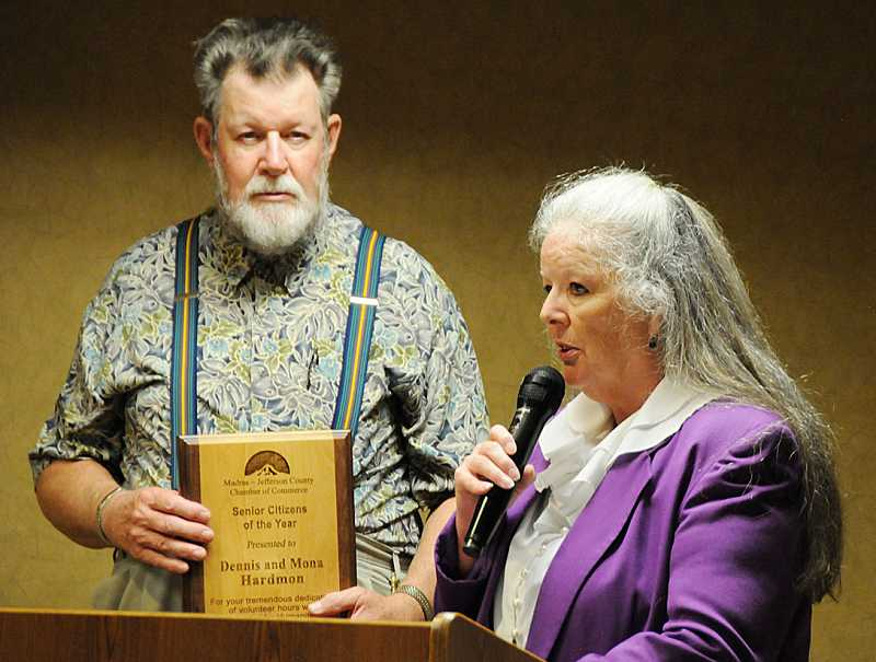 by: BILL VOLLMER - Dennis and Mona Hardman, of Metolius, were honored as Senior Citizens of the Year.