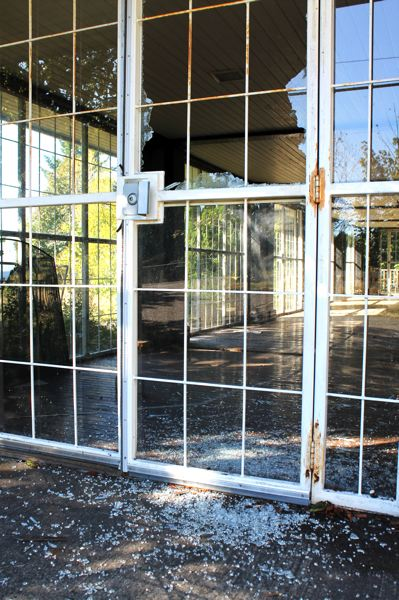 by: OUTLOOK PHOTO: CARI HACHMANN - A glass door is shattered at the historic inn.