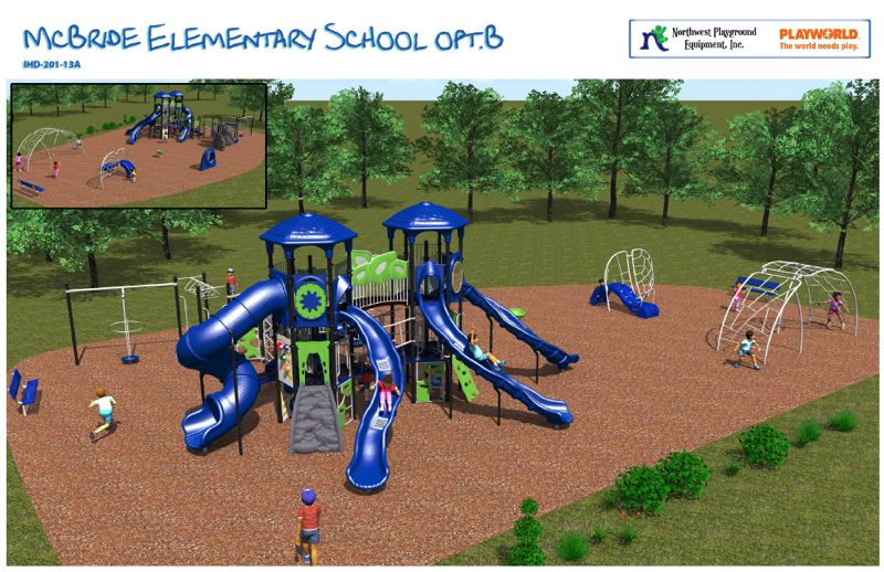 by: SUBMITTED IMAGE - A rendering of the proposed new play structure at McBride Elementary School, which was presented to the St. Helens School District board at its Wednesday, Sept. 25, meeting. Courtesy Northwest Playground Inc. and Playworld Systems